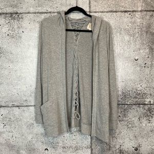 Chaser // Love Lace-Up Hooded Cardigan